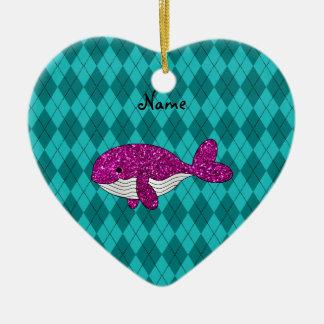 Argyle rosado conocido personalizado de la ballena adorno de cerámica en forma de corazón