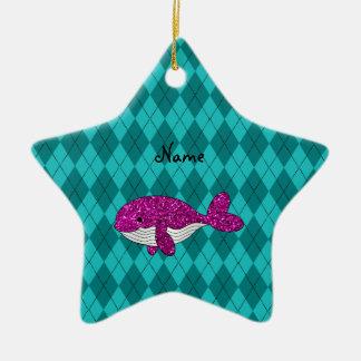Argyle rosado conocido personalizado de la ballena adorno de cerámica en forma de estrella