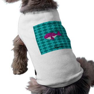 Argyle rosado conocido personalizado de la ballena playera sin mangas para perro