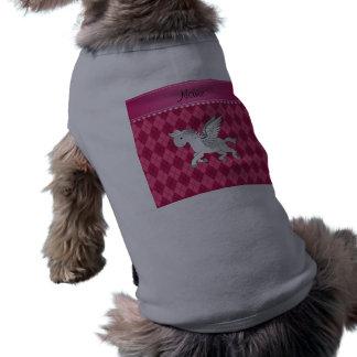Argyle rosado conocido personalizado de Pegaso Playera Sin Mangas Para Perro