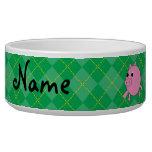 Argyle rosado conocido personalizado del verde del tazon para perro