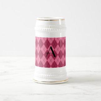 Argyle rosado del monograma jarra de cerveza