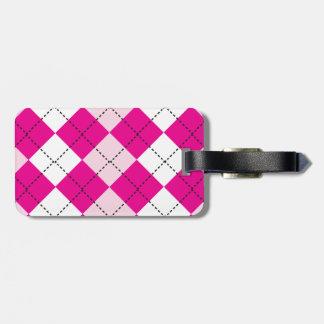 Argyle rosado etiqueta para equipaje