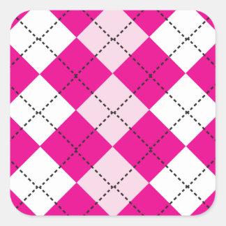 Argyle rosado calcomanías cuadradases