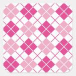 Argyle rosado pegatinas cuadradas