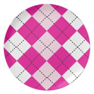 Argyle rosado plato para fiesta