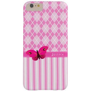 Argyle rosado raya iPhone de la mariposa 6 6S más Funda Para iPhone 6 Plus Barely There
