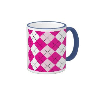 Argyle rosado tazas