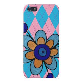 Argyle rosado y azul y flor