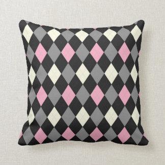 Argyle rosado y negro cojin