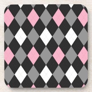 Argyle rosado y negro posavasos de bebidas