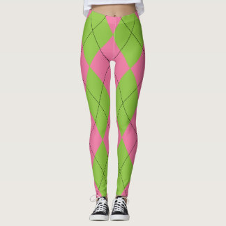 Argyle rosado y verde leggings