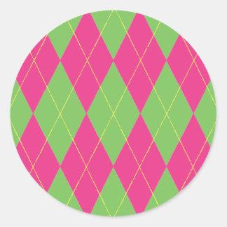 Argyle rosado y verde pegatina redonda