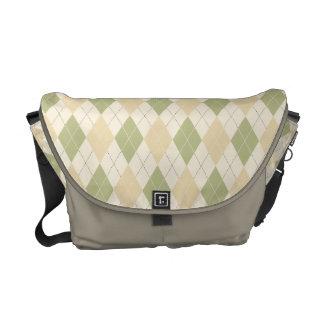 Argyle Sage, Sandalwood, Cream Messenger Bag