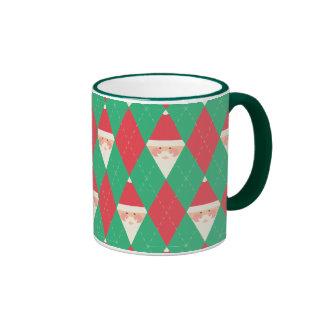 Argyle Santa Pattern Ringer Mug
