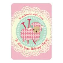 Argyle sheep knitting needles Christmas card