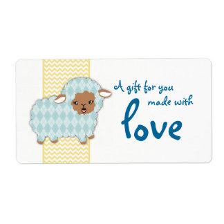 Argyle sheep lamb knitting crochet gift tag label