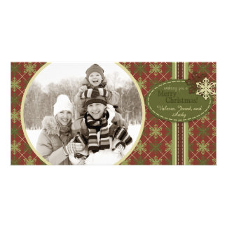 Argyle Snowflakes Christmas Photo Card