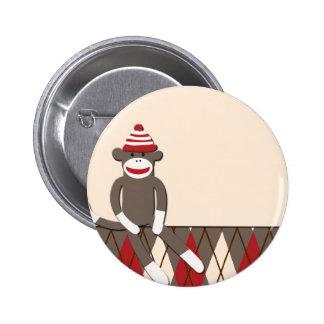 Argyle Sock Monkey 2 Inch Round Button