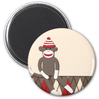 Argyle Sock Monkey 2 Inch Round Magnet