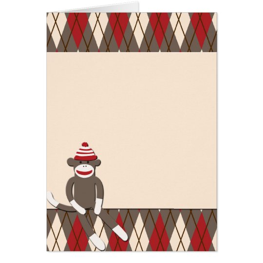 Argyle Sock Monkey Card