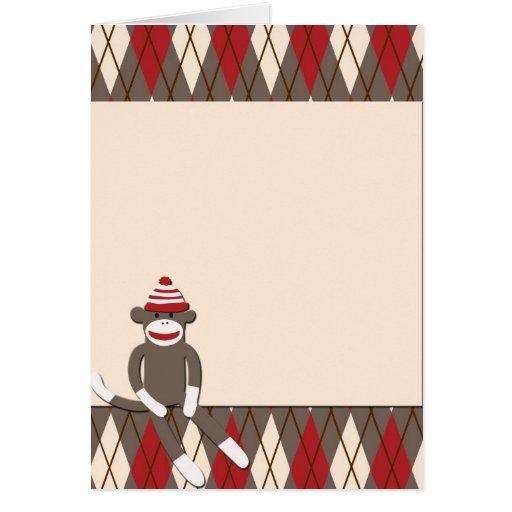 Argyle Sock Monkey Cards