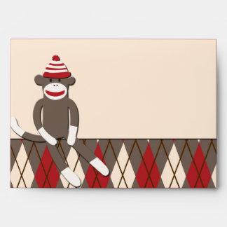 Argyle Sock Monkey Envelope