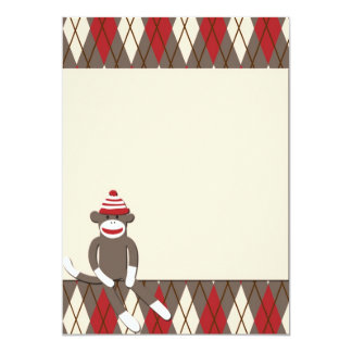 Argyle Sock Monkey Invitation