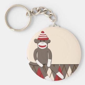 Argyle Sock Monkey Basic Round Button Keychain