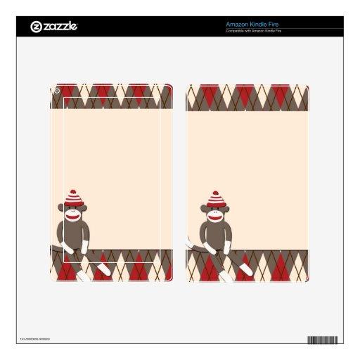 Argyle Sock Monkey Kindle Fire Skin