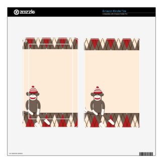 Argyle Sock Monkey Kindle Fire Skin