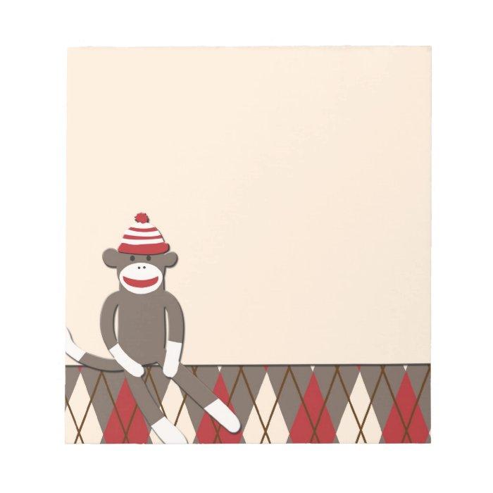 Argyle Sock Monkey Notepad