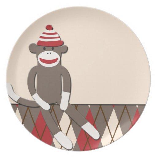 Argyle Sock Monkey Plate