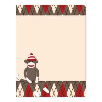 Argyle Sock Monkey Postcard