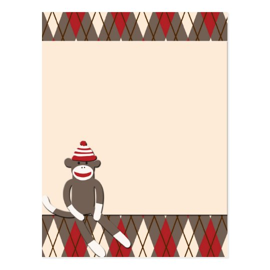 Argyle Sock Monkey Postcard