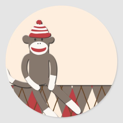 Sock Monkey Graphic Argyle sock monkey round