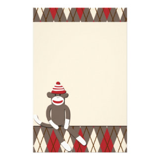Argyle Sock Monkey Stationery