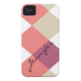 Argyle Stripe Pink, Coral Personalized iPhone 4/4s iPhone 4 Cover