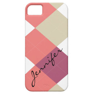Argyle Stripe Pink & Coral Personalized iPhone 5 iPhone SE/5/5s Case