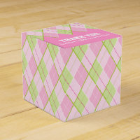 Argyle style pink ladies thank you golf gift box