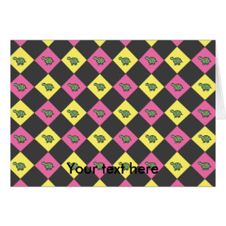 Argyle turtle pattern on black card