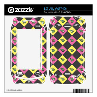 Argyle turtle pattern on black decal for LG ally