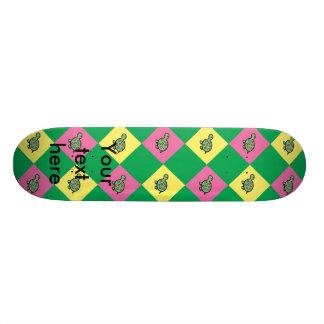 Argyle turtle pattern on green skateboard decks