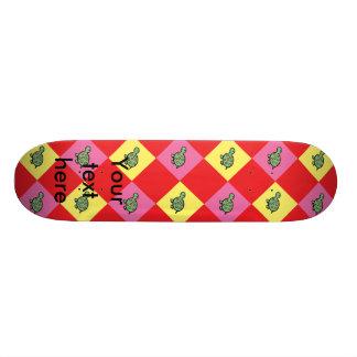 Argyle turtle pattern on red skate deck