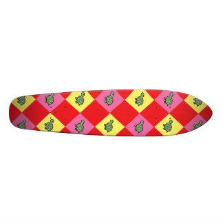 Argyle turtle pattern on red custom skateboard