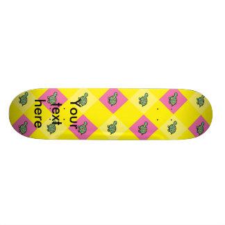 Argyle turtle pattern on yellow skateboard