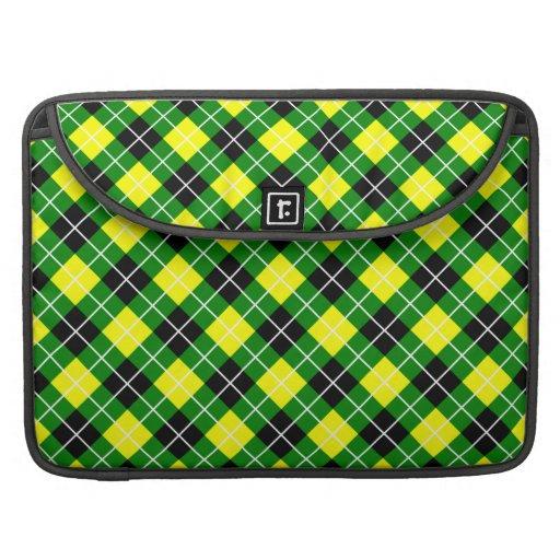 Argyle verde, amarillo, blanco y negro funda para macbooks