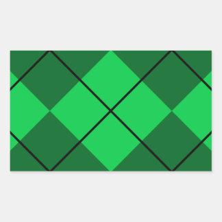 Argyle verde irlandés rectangular pegatinas