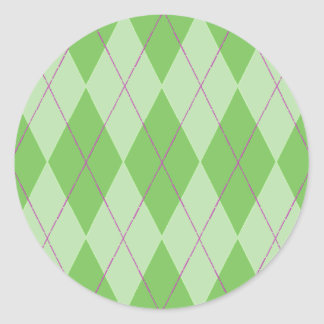 Argyle verde pegatina redonda