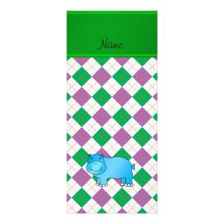 Argyle verde púrpura personalizado del hipopótamo tarjetas publicitarias